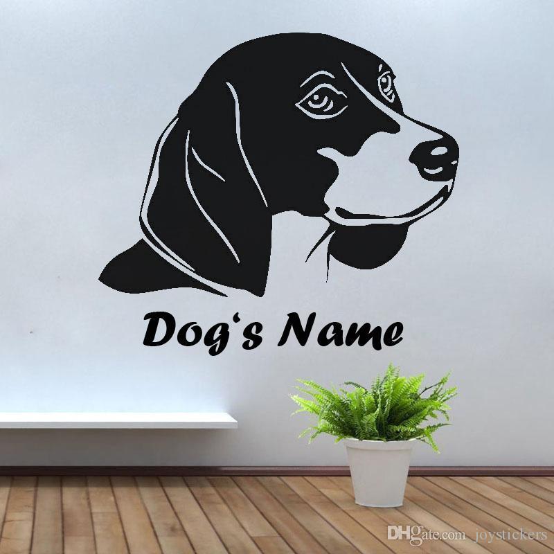 Nome finestra decorata Casa decorata Wall Sticker Pet Dog Beagle Heas con nome Stickers murali personalizzata del cane