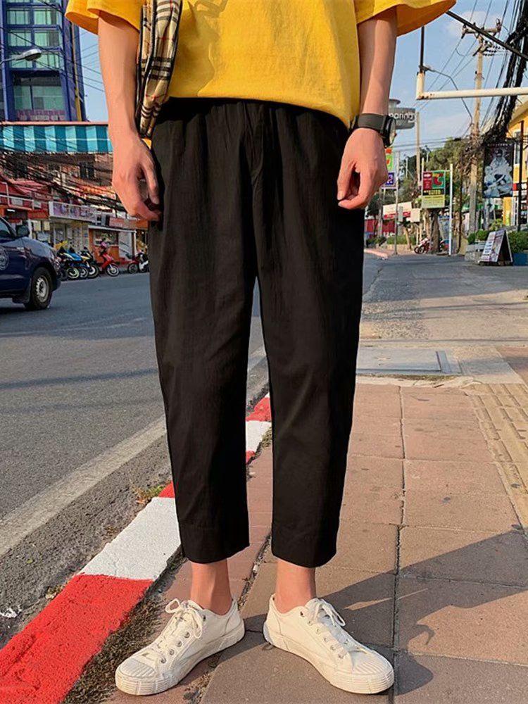 Erkek Katı Moda Tasarımcısı Pantolon Streetwear Hiphop Pantolon Tulum İpli Sıkı Joggers Pantolon Sweatpant Erkek Rahat Rahat Pantolon
