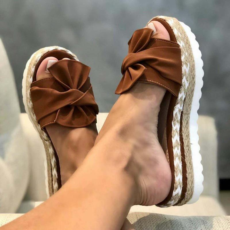 Сандалии женщина 2020 обувь скольжения на лук шлепанцы летние пляжные тапочки плоские нескользящие Клин тапочки лето