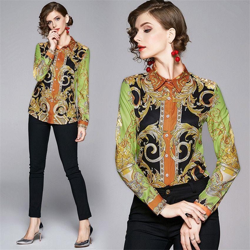 Otoño del resorte de la blusa de manga larga para mujer de la vendimia de pista tapas de la camisa y blusas de moda europea camisas Blusa Femenina Ropa Mujer m541