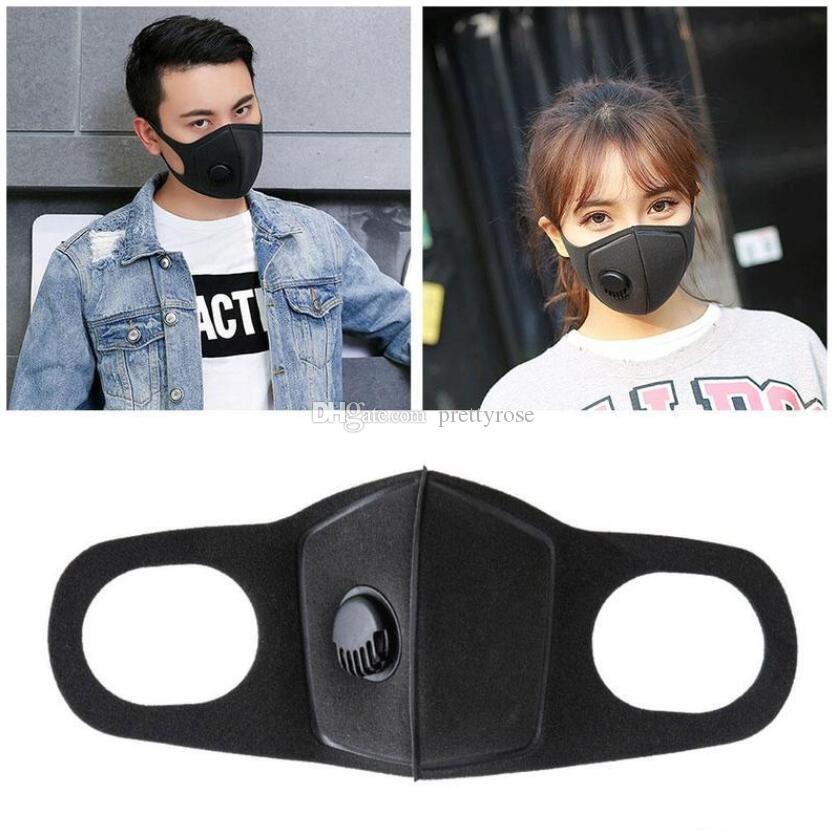 Schwarz Schwamm-Gesichtsmaske Staubmaske Filter PM2.5 Luftverschmutzung Winter-Mund-Wiederverwendbare mit Atemventil Haze Staub gewaschener Männer Frauen