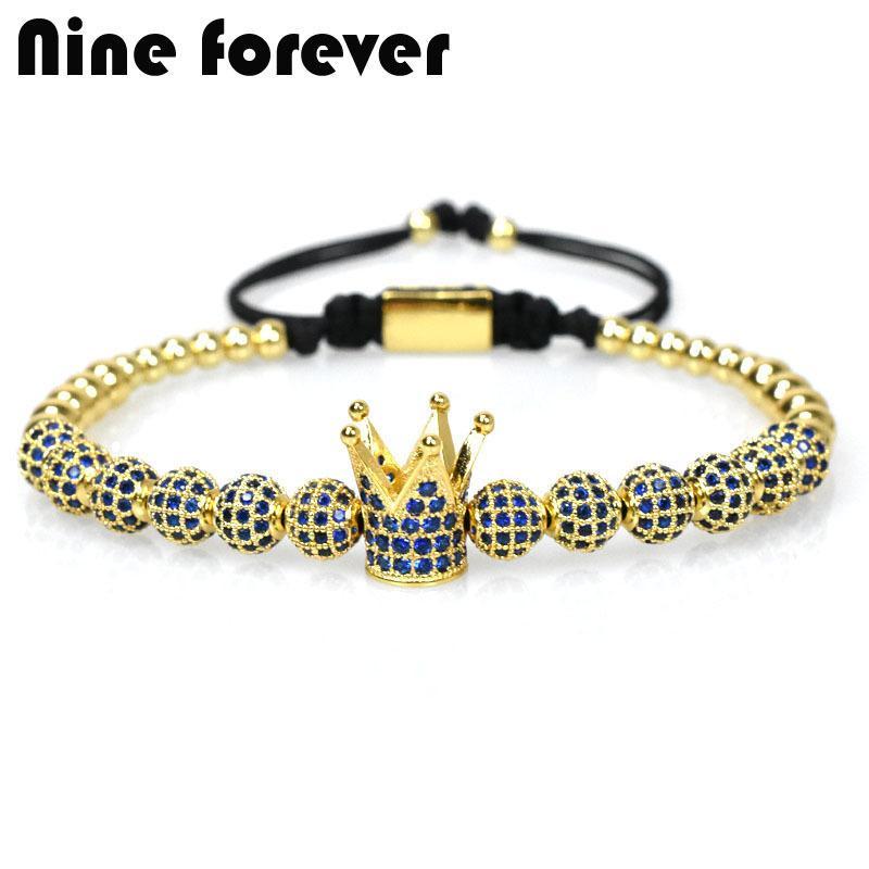 Nine Forever Blue Crown Charms Bracelet Men Jewelry Braiding Macrame Beads Bracelets For Women Pulseira Masculina Feminina Gifts Y19051302