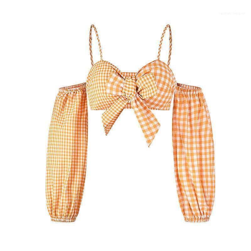 Couleur naturelle Adolescent Designer Vêtements Mignon Femmes Sexy Crop Top Casual camisoles Femmes Designer camisoles Plaid Jaune