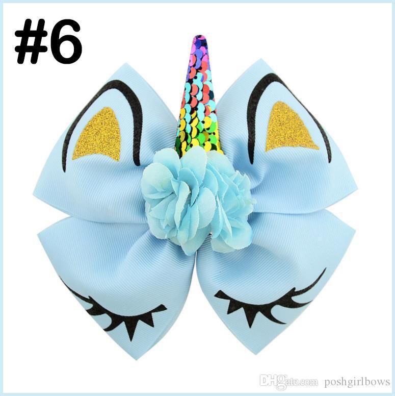 Archi dei capelli paillettes Unicorn trasporto libero 50pcs con le clip per ragazze bambini di scintillio dell'arcobaleno del fiore del nastro Ciglia piega gli accessori dei capelli