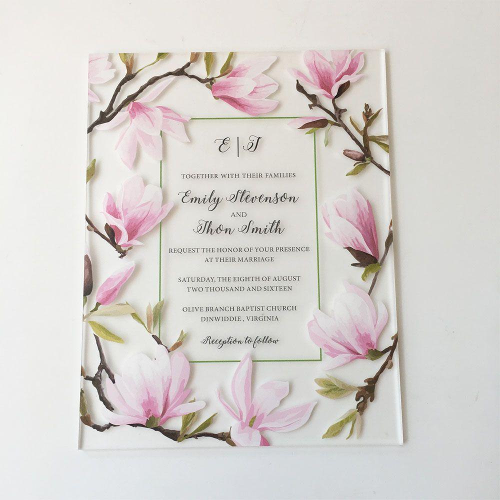 Schöne Pfirsichblüten-Wasser-Farben-Art 128 * 165mm bereifte Acrylhochzeits-Einladungs-Karten 100 Stücke pro Los
