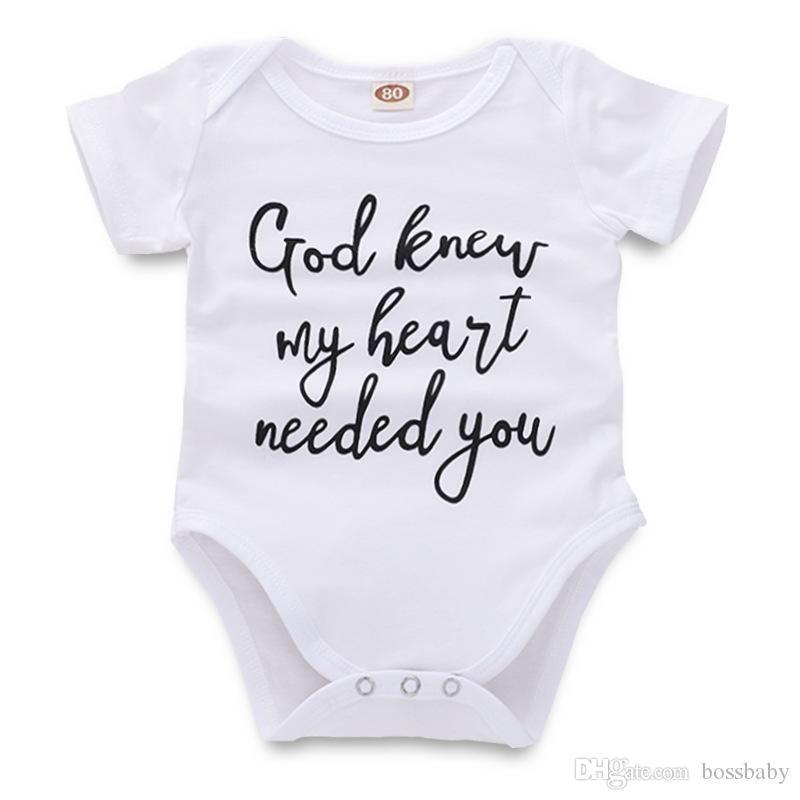 Новорожденные младенец комбинезона Rompers Infant Baby Girl Boy Повседневная одежда Письмо Printed белый с коротким рукавом малышей 43