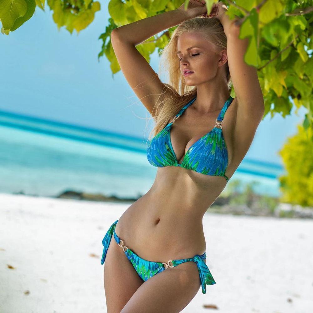 Costumi da bagno digitale stampato Bandage costume da bagno spaccato in due pezzi del nuovo diamante delle donne di cristallo Thong bikini femminile Swimwear Beach Wear Biquini