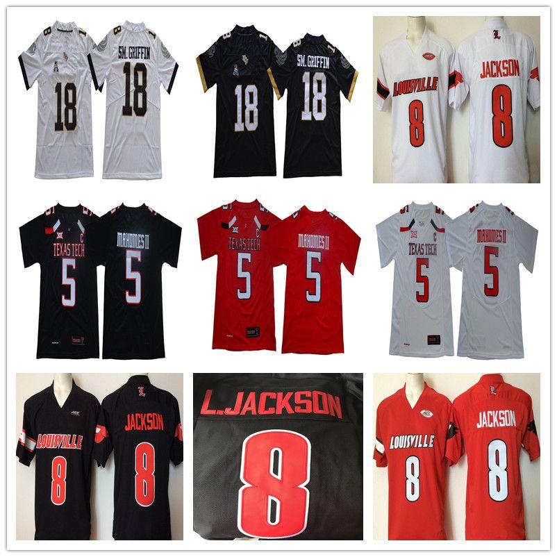 Louisville 8 Lamar Jackson Washington Huskies Texas Tech 5 Patrick Mahomes II UCF Knights 18 Shaquem SM.GRIFFIN NCAA College Football Jersey