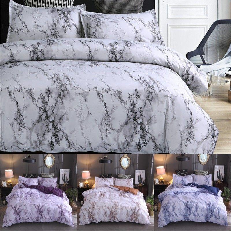 Teste padrão de mármore conjuntos de cama de poliéster cama Cover Set 2 / 3pcs Duplo Double Queen Quilt Tampa Roupa de cama (Sem Folha nenhum enchimento)