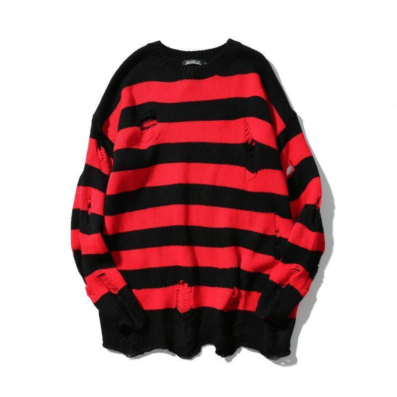 # 5204 Red Stripe Preto Outono Buracos malha High Street Oversize pulôver Homens Hip Hop blusas soltas Streetwear Tide
