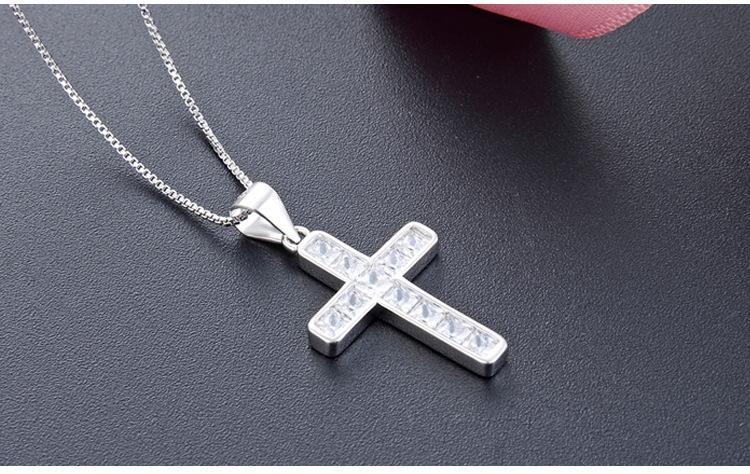 Wedding gift top quality women's S925 sterling silver CZ pendants for necklaces silver Jesus Cross necklace Christian's jewelry DDS1631