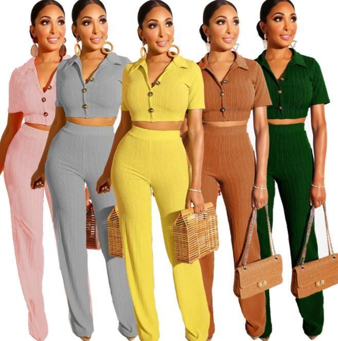 2019 mujeres del verano de punto de manga corta a su vez por el cuello del suéter de los mejores pantalones rectos se adaptan a dos piezas chándal conjunto de cosecha de