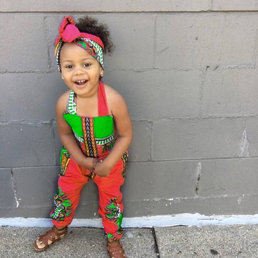 2PCS Toddler Kid Baby Girl African Print Sleeveless Romper Headband Jumpsuit Set