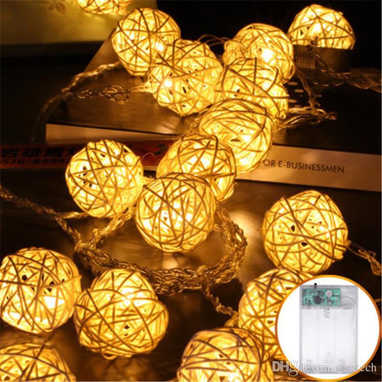 1,5 m 2,5 m 5m Rattan bola de Navidad LED cadena luces LED de mimbre de la vendimia Sepak Takraw bola de la decoración del hogar de la lámpara de interior