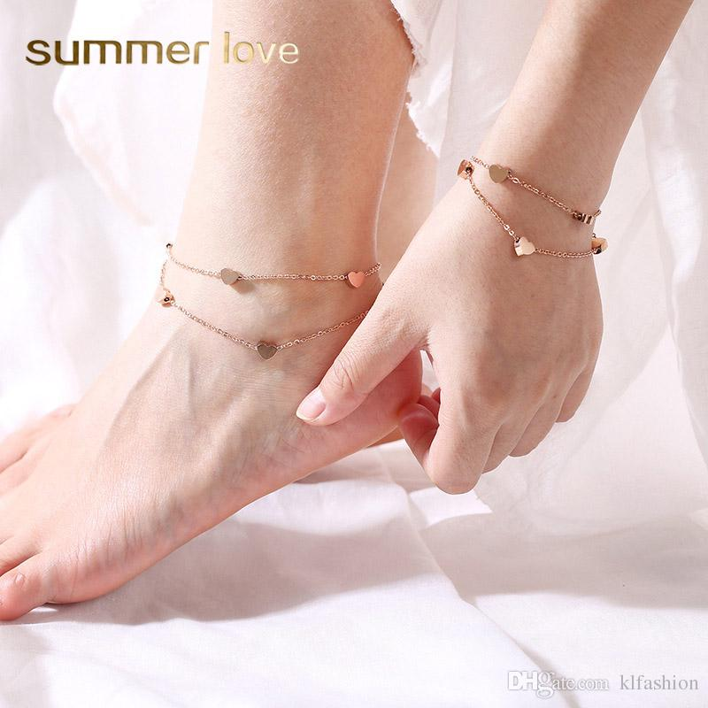 Nueva moda de acero inoxidable corazón amor encanto pulsera tobillera para mujeres elegante astilla oro rosa oro pulsera ajustable pulsera de cadena