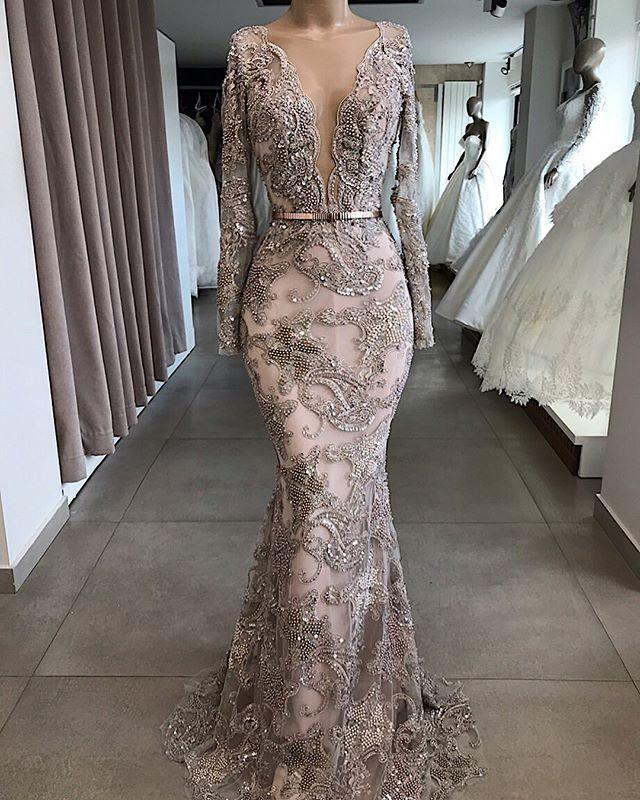 Robes de soirée de sirène perlée de luxe 2020 manches longues en V couc dentelle dentelle pageant bal promenant robes de fête des robes de Soirée Abendkleider