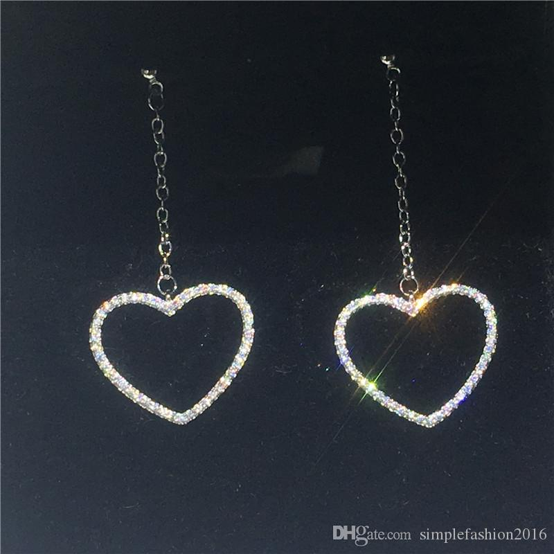 Boucle d'oreille en forme de coeur en argent sterling 925 serti de pavé de diamants Cz Engagement de mariage Dangle Earrings pour femmes cadeau de mariée