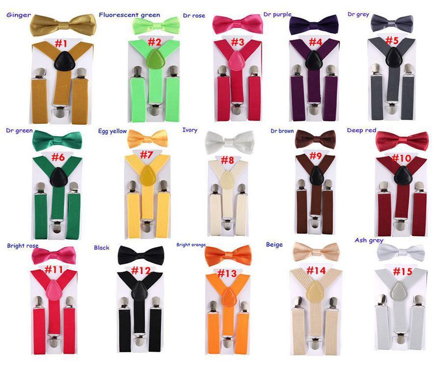 Crianças Y Voltar Elastic Suspensórios Crianças das meninas do menino Clip-on elásticas Correias ajustáveis 2pcs Bow Tie / OOA7558 set
