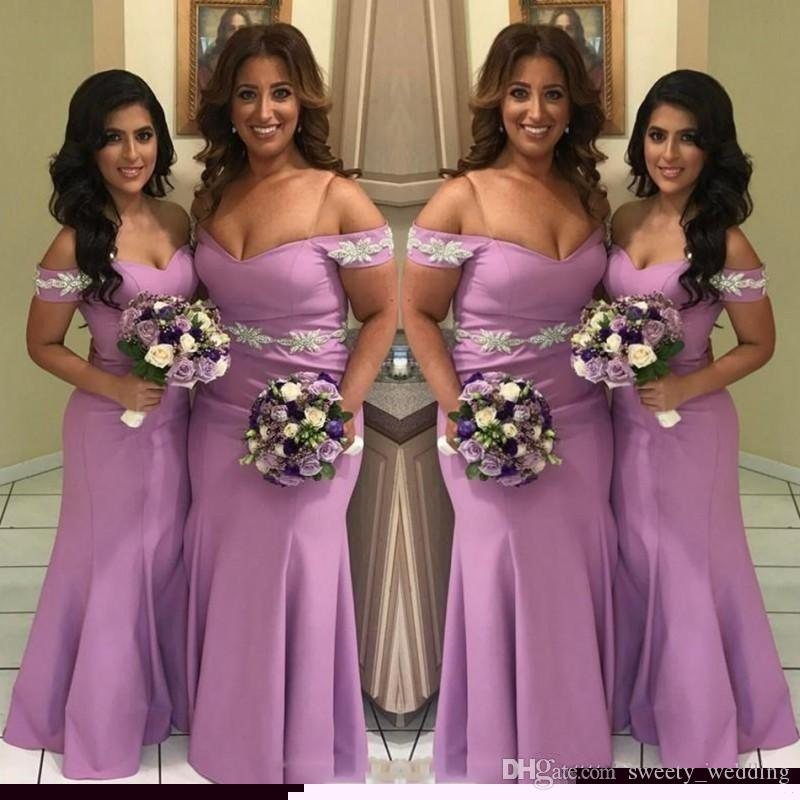 2019 Off Shoulder Lavender Bridesmaid Dresses Lace Appliques Plus Size Maid  Of Honor Gowns For Wedding Floor Length Cheap Bridesmaid Gowns Cream ...