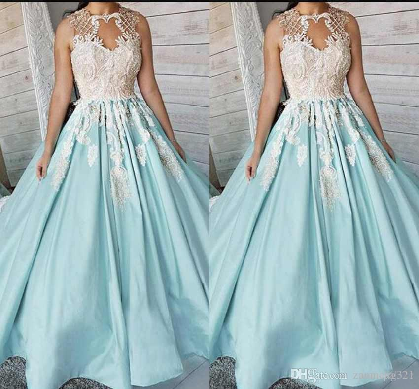Nouvelle arrivée bijou cou robes sur mesure en dentelle Top Appliques satin balayage train robe de bal formelle longues robes de bal
