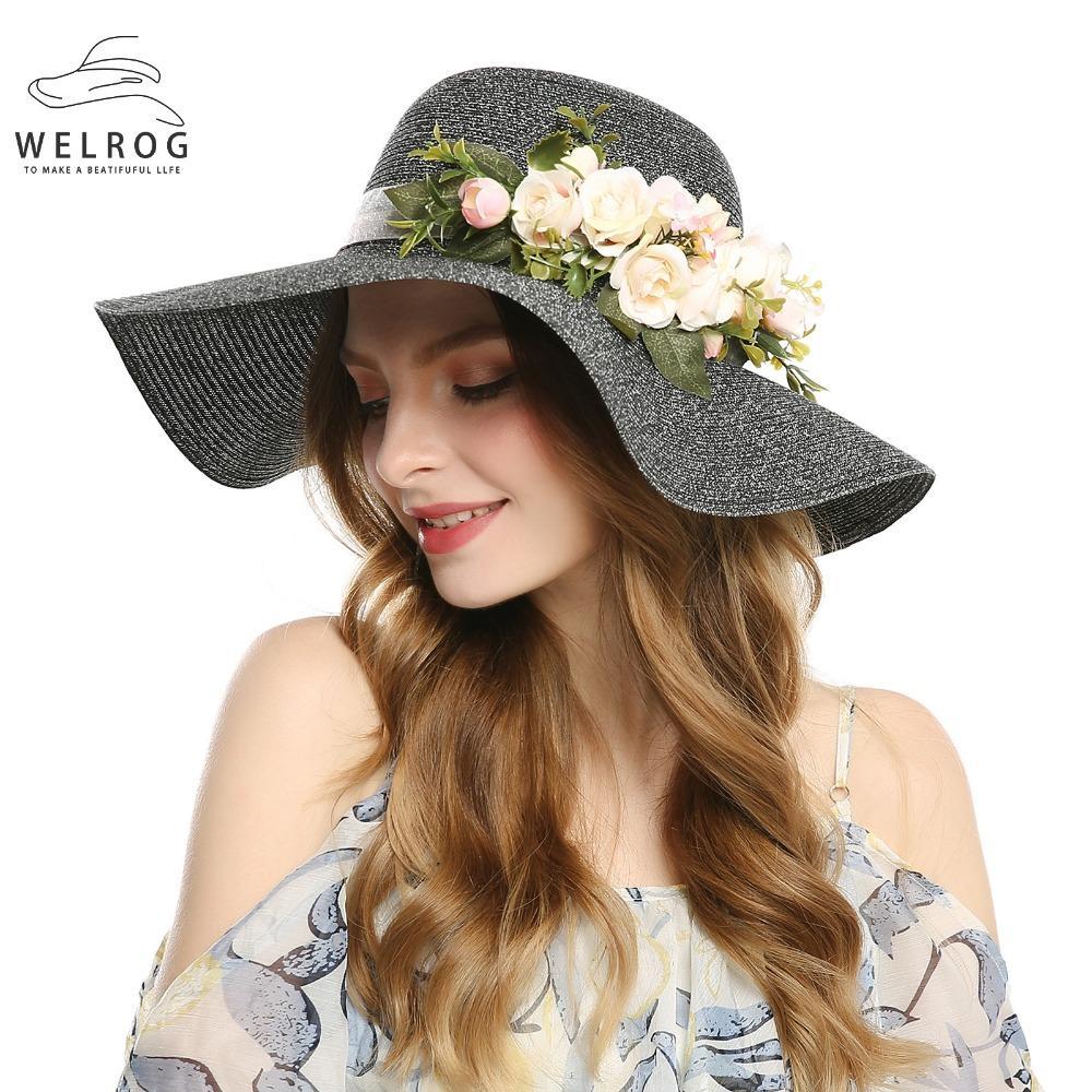 Kadınlar için toptan Siyah Zarif Çiçek Yaz Şapkalar Plaj Güneş Şapka Bayanlar Büyük Ağız Hasır Şapka Rahat Katlanabilir Gölge Kapakla ...