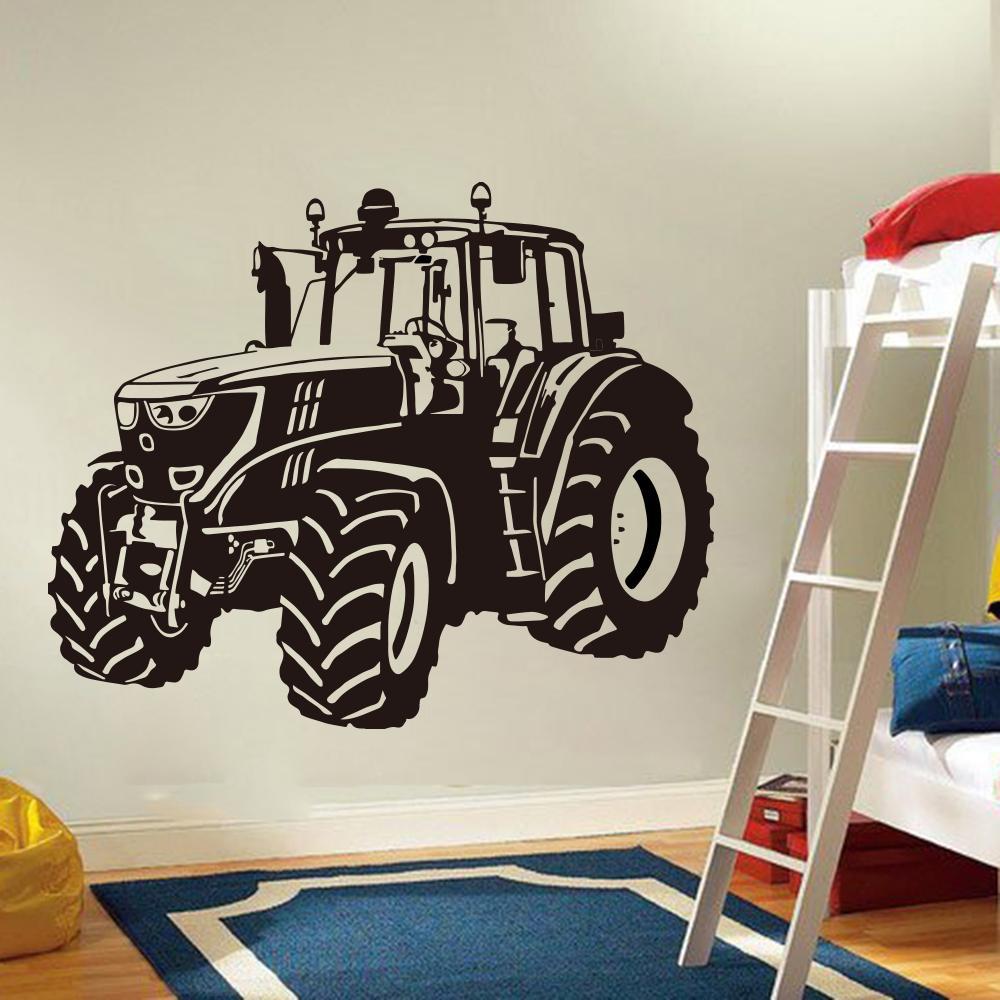 Large Farm Driving Sticker Nursery Kids Room Cartoon Tractor Truck Car Vehicle Wall Decal Playroom Vinyl Decor Y200103
