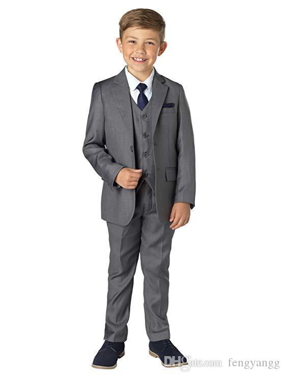 Grey Royal Blue Suit for Boy Costume Kids Wedding Suit Blazer Boys Suits for Weddings Boys Tuxedo 5pcs/Set(Jacket+Pants+Vest+Shirt+Bow Tie)