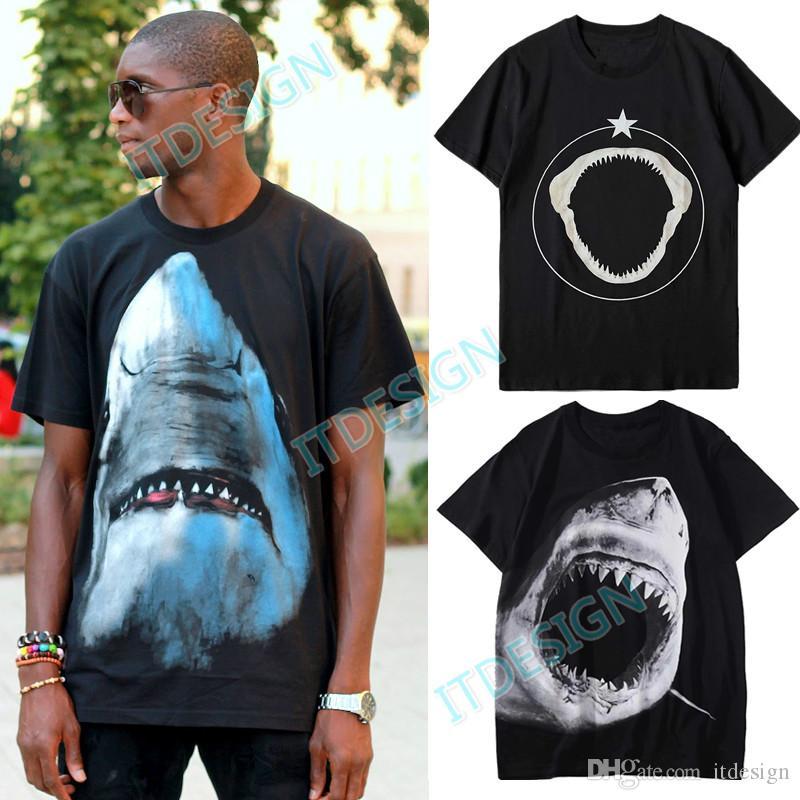 T-shirt in cotone di squalo stampato 3D Uomo Casual Fit Street Style T-shirt a maniche corte Collo tondo maschile