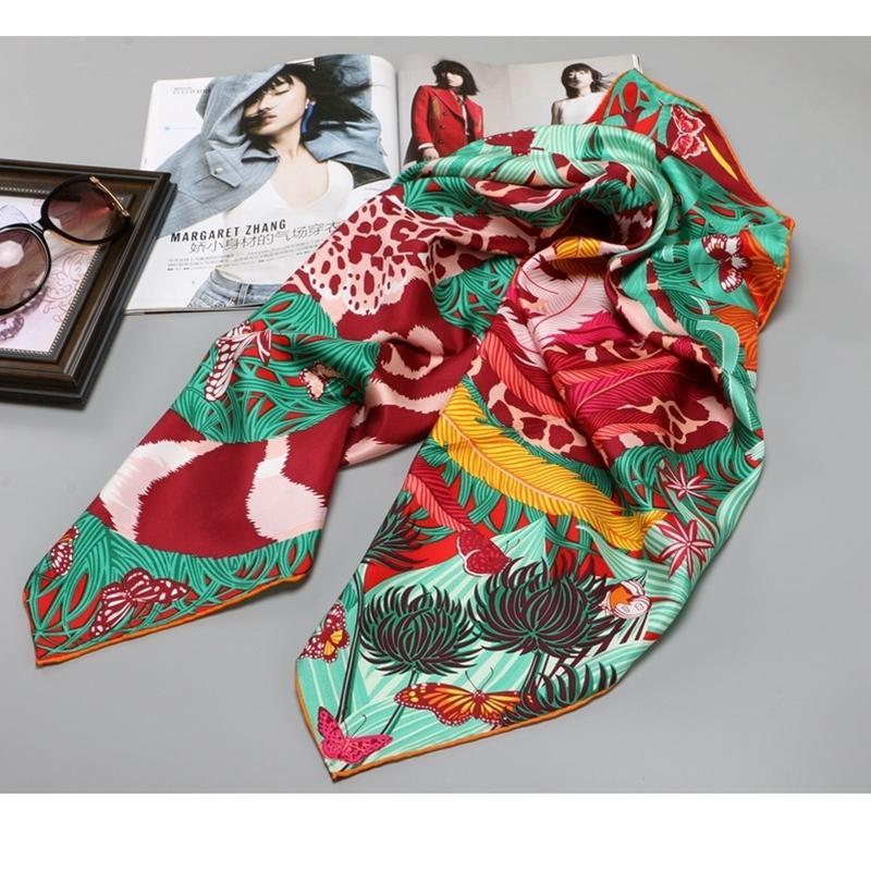 100% haute style Twill Foulard en soie Hijab femmes tête Foulards de cheveux Emballage Grand carré de soie Scarfs 35 x 35 Foulard pouces Y200103