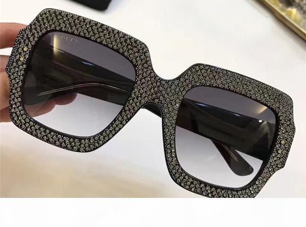 Женщины негабаритные квадратные рамки горный хрусталь 0048S солнцезащитные очки дизайнер вдохновил 0048S солнцезащитные очки совершенно новый с коробкой