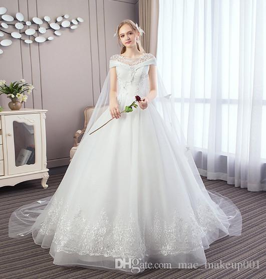 Compre Vestido De Novia Blanco Integral Puso Vestidos De Novia De Manga Corta Con Cordones Vestido Precio De Fábrica Al Por Mayor A 995 Del