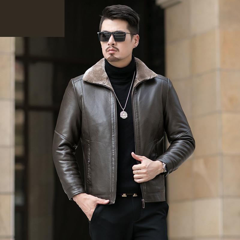 Nuovo modo di alta qualità lavato i vestiti di inverno peluche spessore Grande casual in pelle Faux Fur uomini giacche e cappotti Plus Size L-7XL