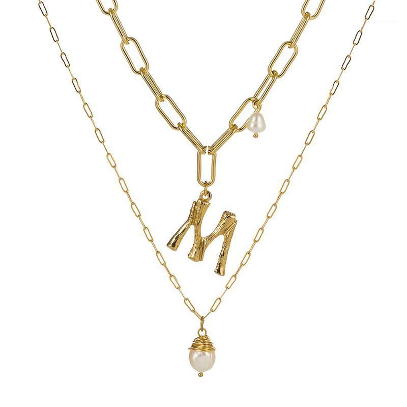 Natural Freshwater Baroque Pearl Pendant Necklace For Women Gold Color 26 A-Z Big Letter Name Initial Necklaces1