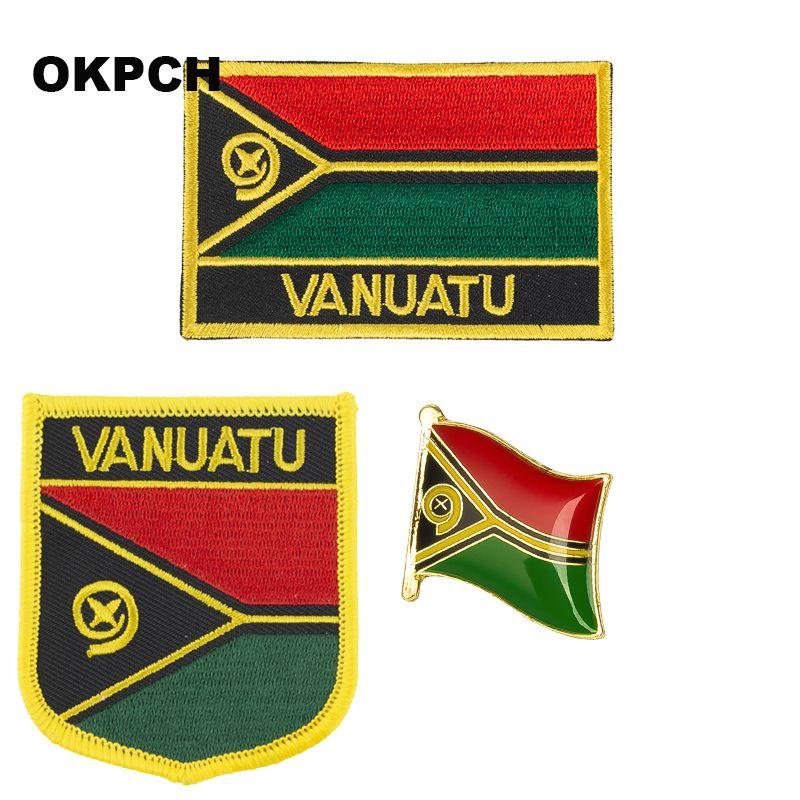 Insignia parche bandera de Vanuatu 3pcs un conjunto de parches para la ropa DIY Decoración PT0181-3