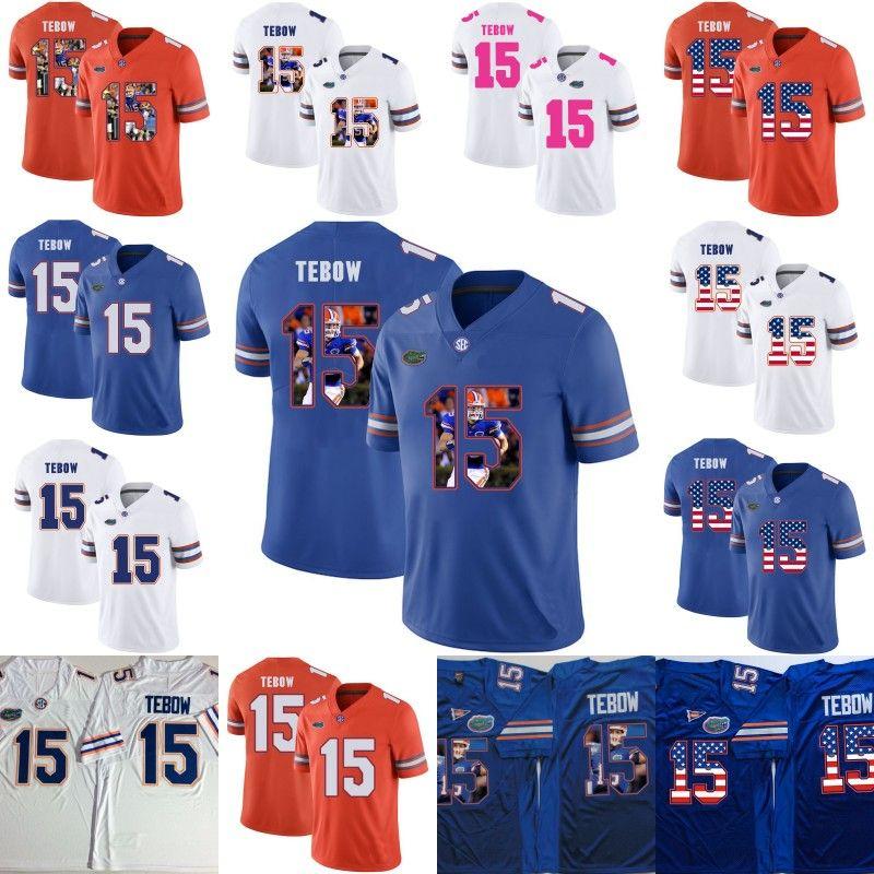 플로리다 게이터 # 15 Tim Tebow 플로리다 축구 유니폼 대학 NCAA 대학 셔츠 남성 여성 청소년 더블 Stiched American Flag Numbers
