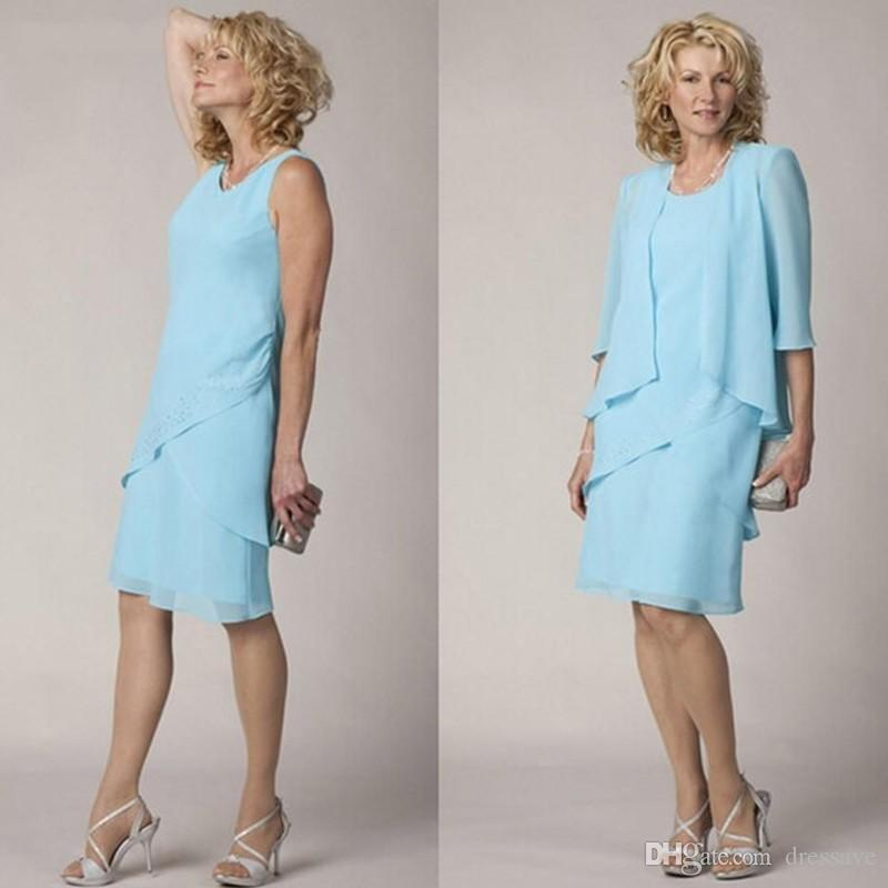 Knee Length Short Light Sky Blue 2020 Mother of the Bride Dresses with Jacket Simple Formal Tiered Mother of the Groom Gown Plus Size