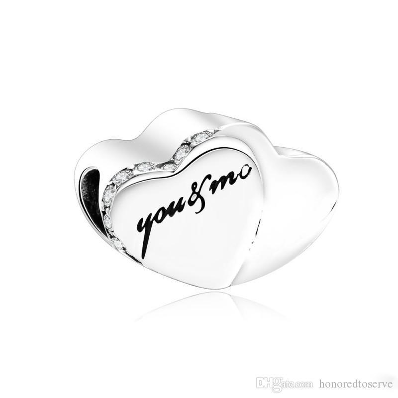 Día 925 Dos corazones de San Valentín encanto, encantos pavimenta el cristal claro del corazón cabida los granos original marca de joyería de bricolaje brazalete