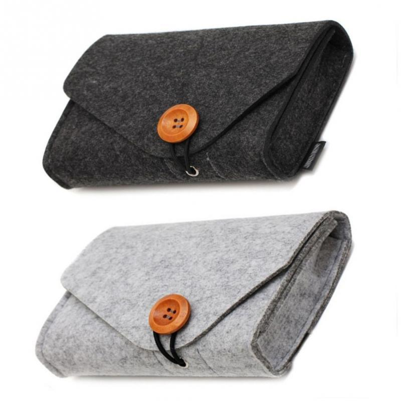 Charger Storage Bag Mini Felt Pouch For Data Cable Mouse Travel Organizer Creative Fashion Electronic Gadgets Organizer