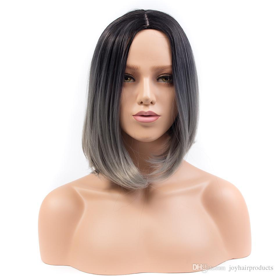 Livraison gratuite nouvelle mode Ombre d'argent perruque courte cheveux synthétiques perruques pour les femmes noires gris Bob cheveux raides