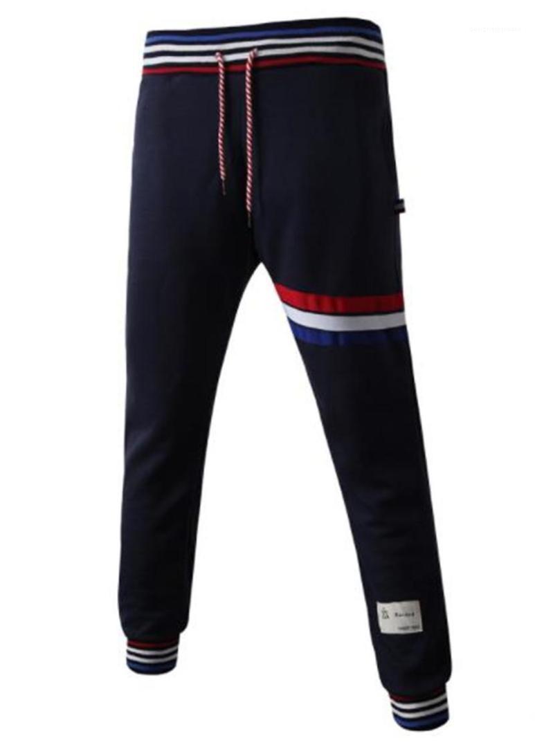 Couleur taille élastique sport Pantalons simple Couples en vrac Fitness Hommes Pantalon rayé Print Designer Hommes Pantalons solide