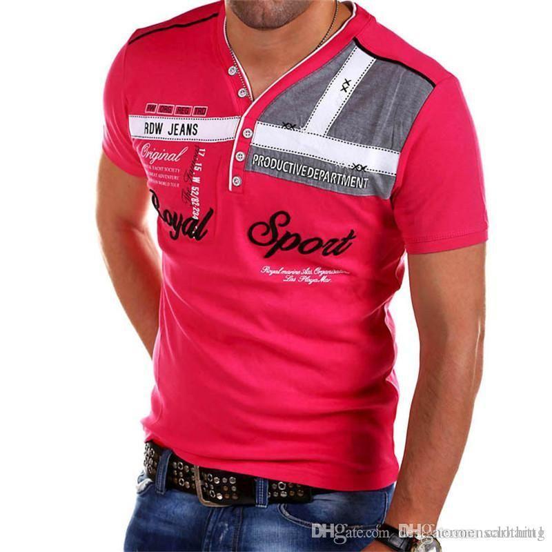 Hommes d'été V Neck T-shirts à manches courtes Mode Skinny Hommes Noir Hauts Vêtements décontractés