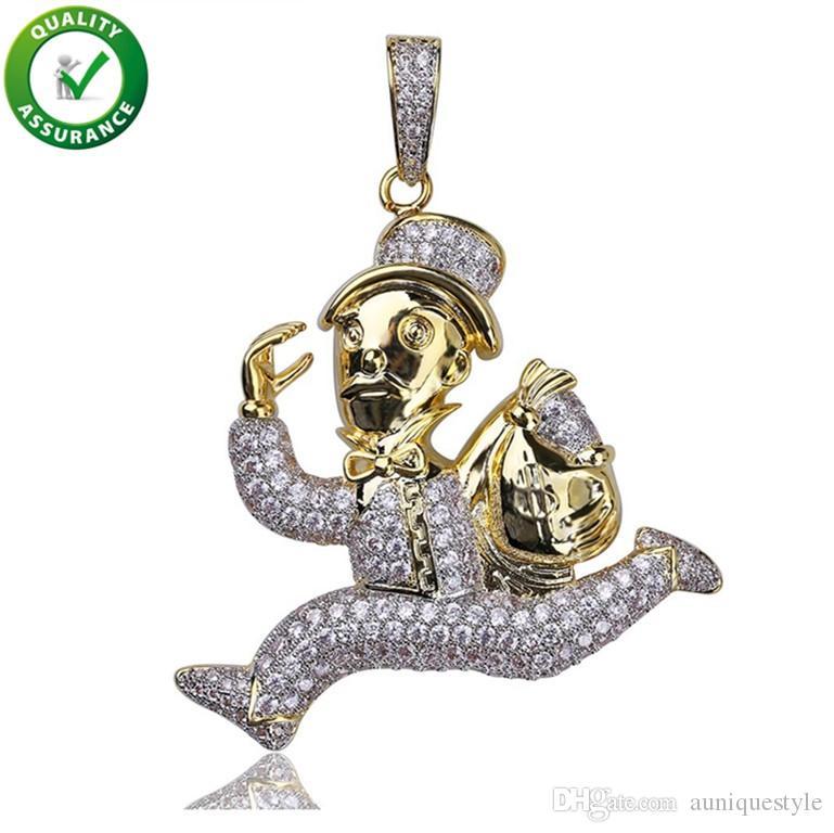 Iced Out Pendant Hip Hop Jewelry Mens Luxury Designer Necklace Gold Plated Carton Runner Necklaces Chain Micro Pave Cubic Zircon Charm Gift