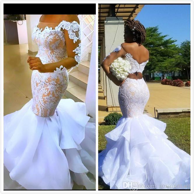 Arabo Aso Ebi Illusion sexy da sposa abiti Mermaid maniche lunghe abiti da sposa organza a buon mercato abiti da sposa