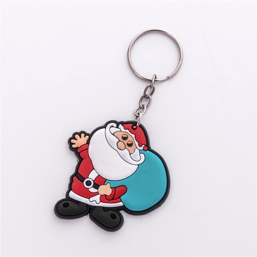 Cute Gift Key Chain Jewelry Cartoon Santa Claus Snowman Deer Christmas Keychain Key Ring Kids Key Holder Gift Wholesale new