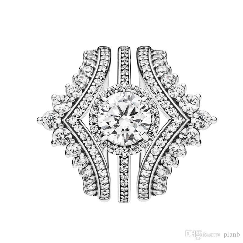 3 en 1 luxe bague sertie Princesse Souhait Anneaux Étincelle ronde Halo Bague pour Pandora 925 Bague en argent sterling avec la boîte originale