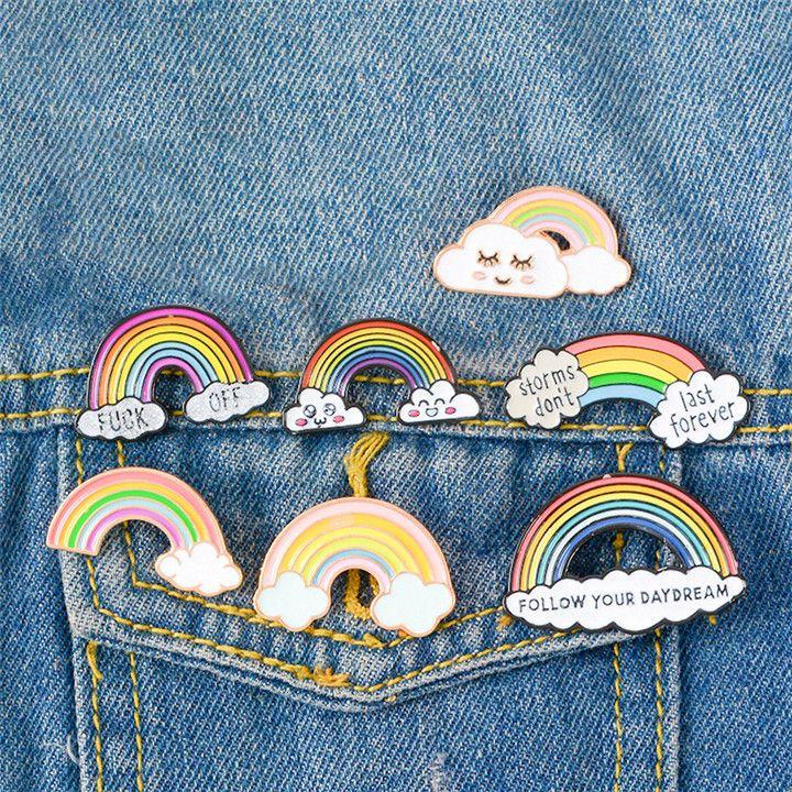 9 colores de dibujos animados lindo arco iris y nubes esmalte pin arco iris moda metal broche pines insignia para mujeres hombres niños regalos T351