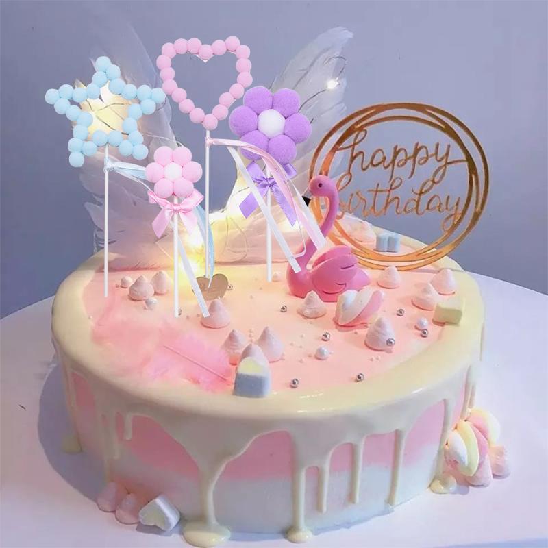 3 set rosa blu pom pom palline toppers torta baby shower compleanno festa di nozze cuore stella fiore hairballs forniture decorazioni torta