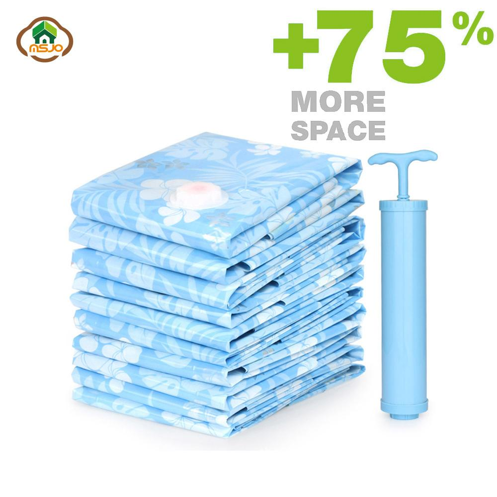 Msjo Storage Bag Vacuum Bags For Clothes 11PCS/Set Compressed Bag With Pump Bedroom Clothes Saving Space Seal Quilt Organizer C18112801