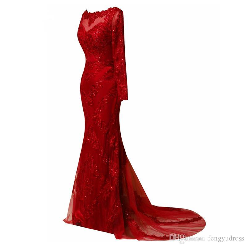 2019 Русалка Вечерние платья Красное кружево с длинными рукавами и бисером Вечернее платье Гламурная Дубай Модные платья с скользящим шлейфом
