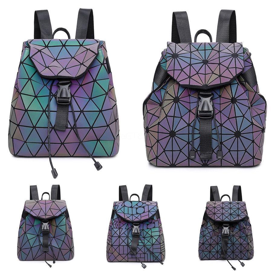 2020 Высокого качество Геометрических сумок Дизайнера Рюкзак Pu Luminous женщины рюкзаки плечо Luxury сумка Крест тело Рюкзак # 927